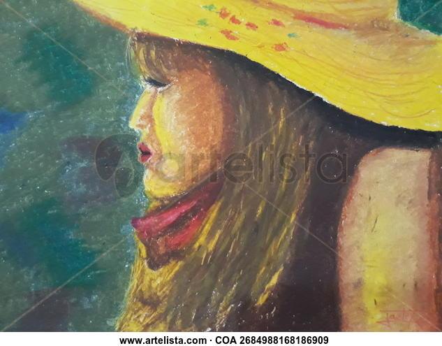 Dama con sombrero Retrato Pastel Cartulina