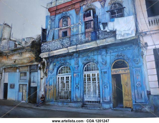 La casa azul- Habana Paisaje Óleo Lienzo