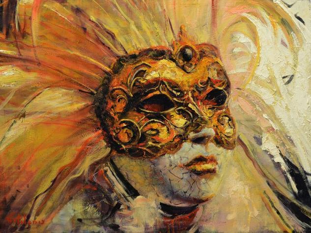 La Mascara Veneciana Panel Oil Figure Painting