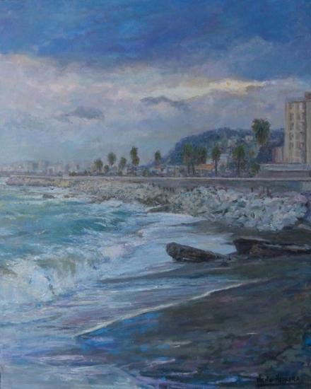 El viento y el mar. Marina Óleo Lienzo