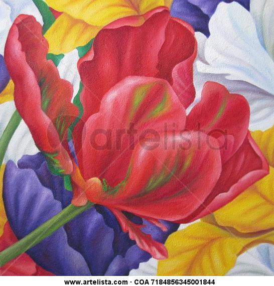 Fields Lienzo Óleo Floral