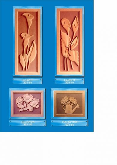 Cuadros en relieve Flores Decoración Muebles y Objetos de Madera