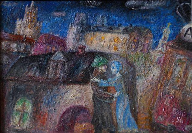 Una Noche En Moscu, 1958 Óleo Cartulina Paisaje