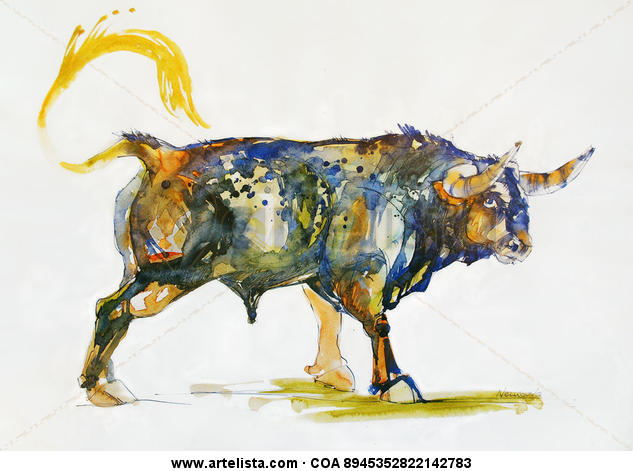 Toro Azul. En la naturaleza II Animales Acuarela Papel