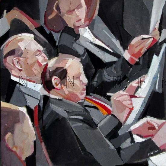 Comisionados Figure Painting Canvas Oil