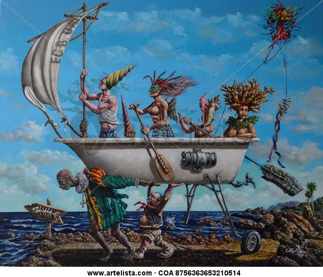 La Bañera Canvas Acrylic Marine Painting