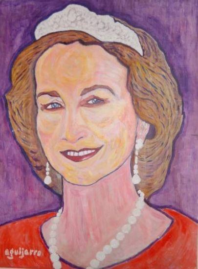 Doña Sofía, Reina de España Acrílico Tabla Retrato