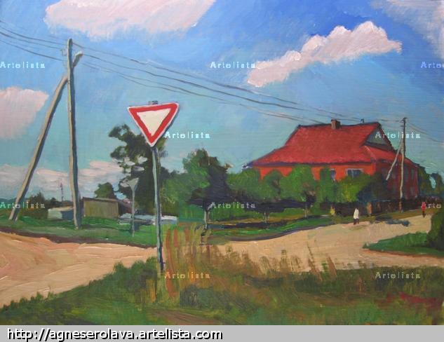 Road sign Paisaje Óleo Otros