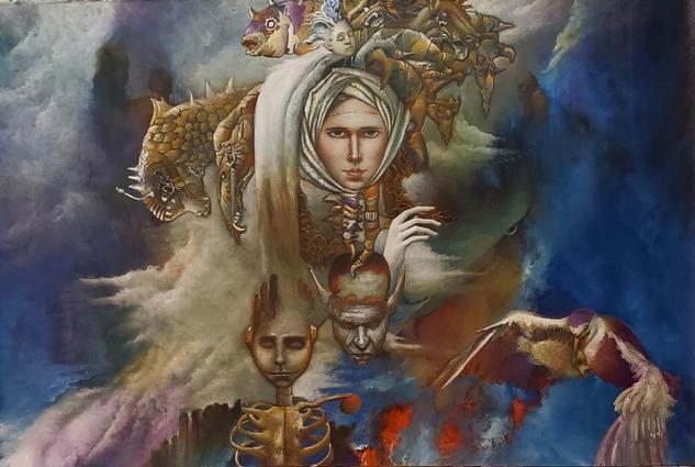 """ La dama del caos "" Figure Painting Oil Canvas"