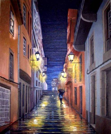 Lluvia en la noche Óleo Lienzo
