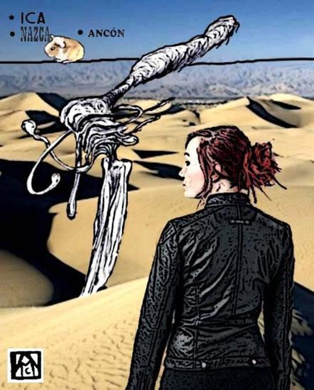 Muchacha observando el desierto, mientras se produce una verdadera descomposición líquida...