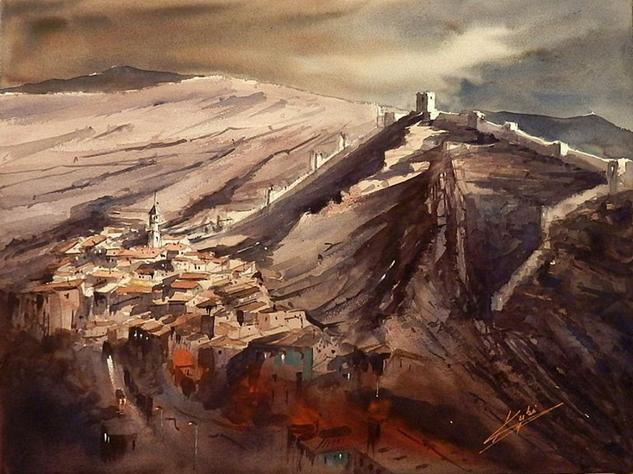 ALBARRACIN, PRIMERAS LUCES Papel Acuarela Paisaje