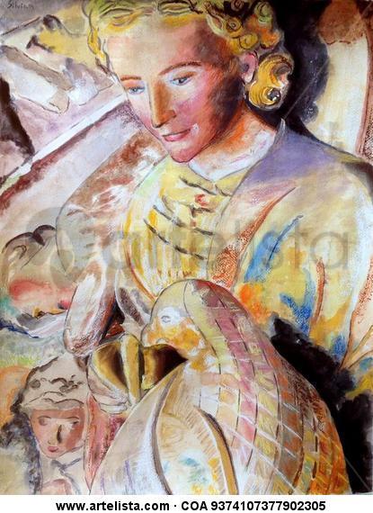 Figura del Pórtico de la Gloria Figure Painting Watercolour Paper