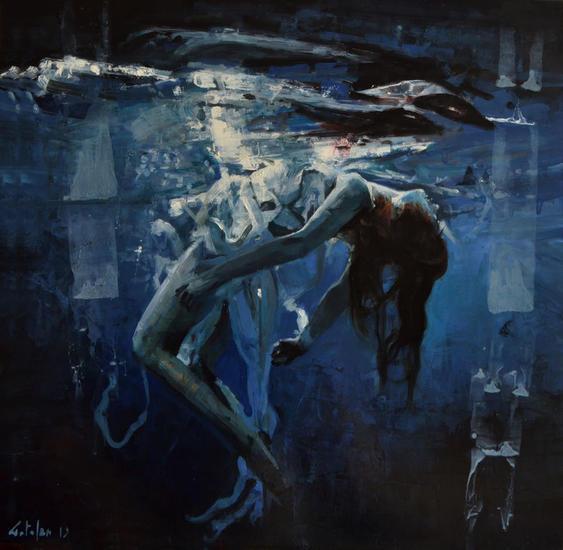 Danza Acuatica Figure Painting Oil Panel