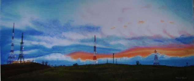 Puesta de sol digital en Montefaro. Pastel Cartulina Paisaje