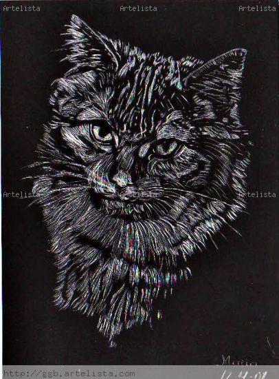 Grabado De Un Felino Maria Bello Vzquez - Artelistacom-9275