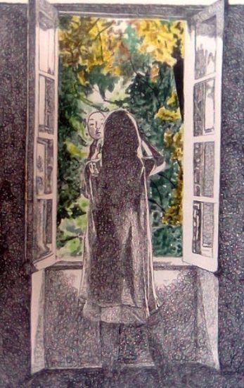 Mujer mirandose en el espejo Tinta