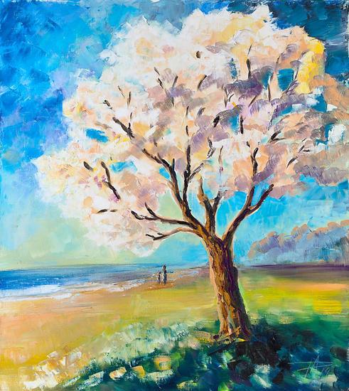 Tree on the beach Lienzo Óleo Paisaje
