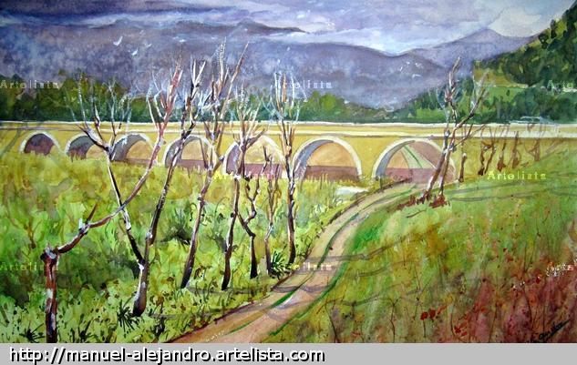 El puente de los siete ojos de orgiva Acuarela Papel Paisaje