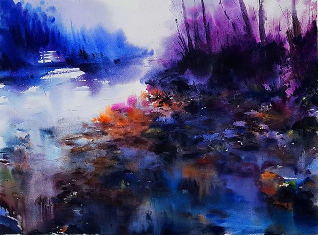 abstrccion en el rio piloña Landscaping Watercolour Paper
