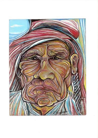 Cacique Mapuche Papel Gouache Retrato