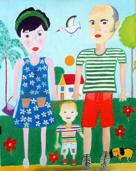 Chevi Rosa Juan happy family looking for flat Óleo Cartulina Paisaje