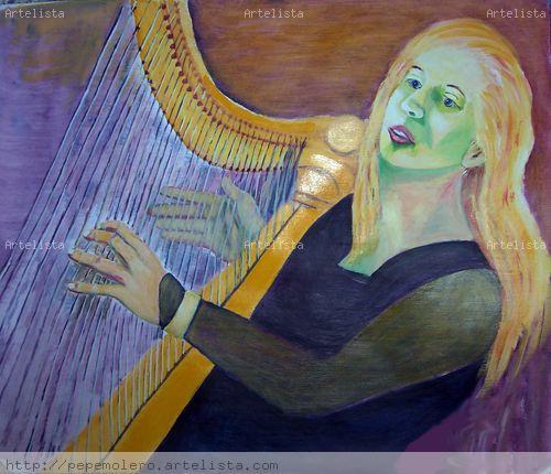 tocando el arpa Acrílico Lienzo Figura