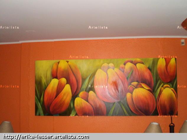 tulipanes vivos Óleo Paisaje Lienzo