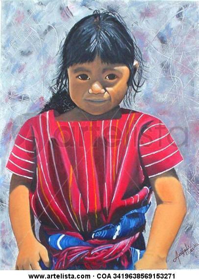 Niña Maya Lienzo Óleo Figura