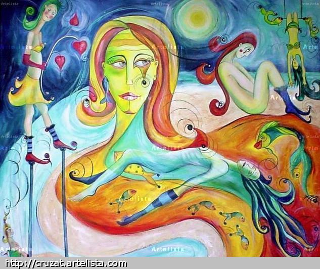 DIA DE LA MADRE Textile Acrylic Figure Painting