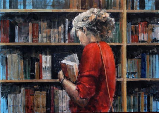 Libreria Lienzo Óleo Figura
