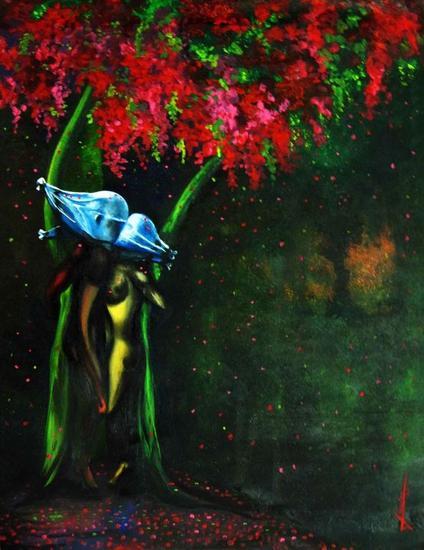 Amor joven (Entendiendo a Magritte) Cartulina Óleo Desnudos