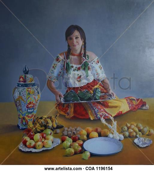 """China Poblana con tibor de talavera"" Figure Painting Oil Canvas"