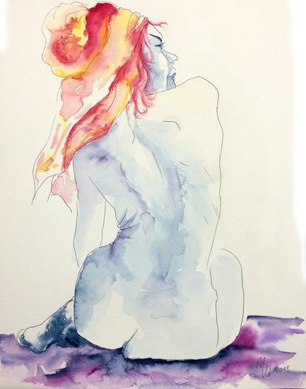 Figura azul II Desnudos Acuarela Papel