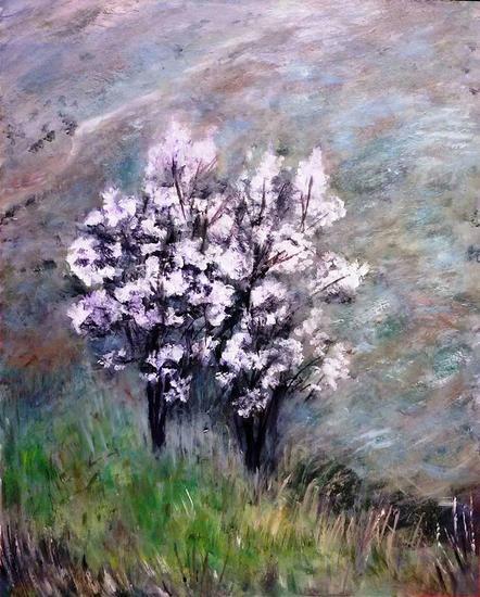 En flor II Paisaje Acrílico Tabla
