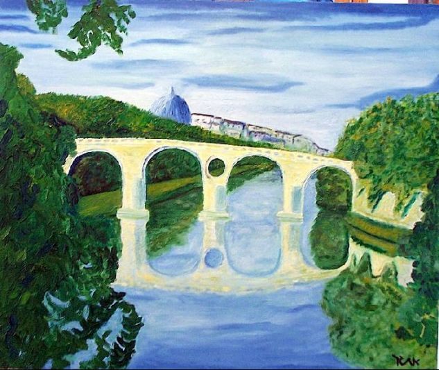Bridge over Tiber River Canvas Oil Landscaping