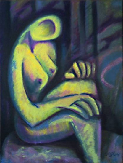 Mujer pensativa Óleo Lienzo Desnudos