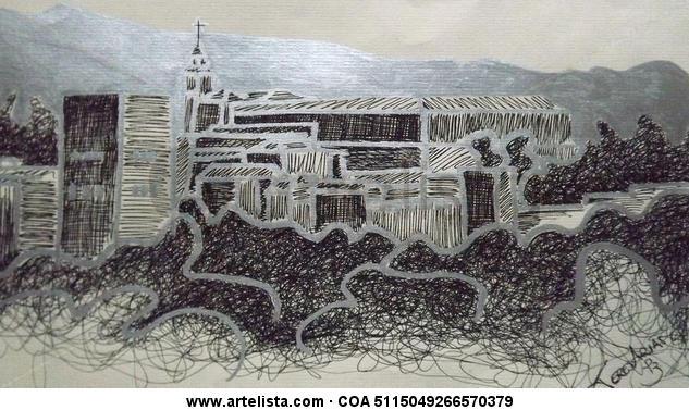 alhambra Paisaje Grafito Papel