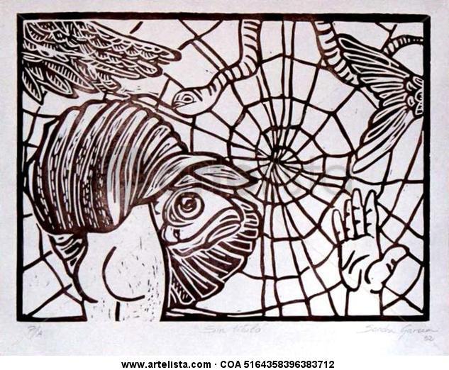 En la tela de Araña Linograbado