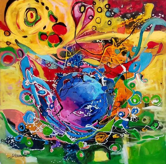 Abstract art ,.modern Bissinger Others Oil Canvas