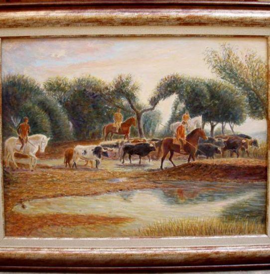 Moviendo el ganado por los campos de ciudad rodrigo jose antonio del castillo martin - Cuadros de vacas ...