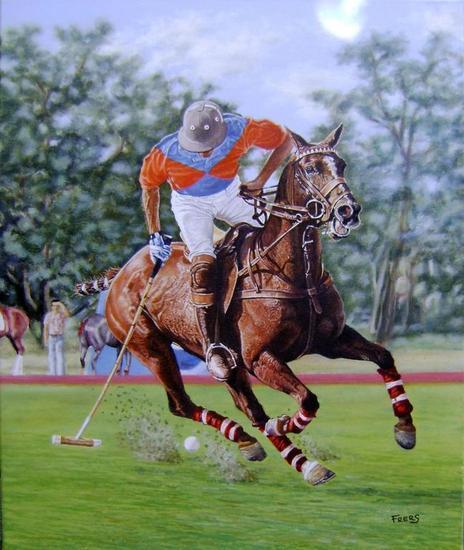Coronel Suarez Polo Club Tela Óleo Deportes