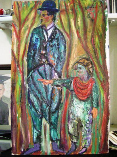 chaplin and kid Otros Óleo Lienzo