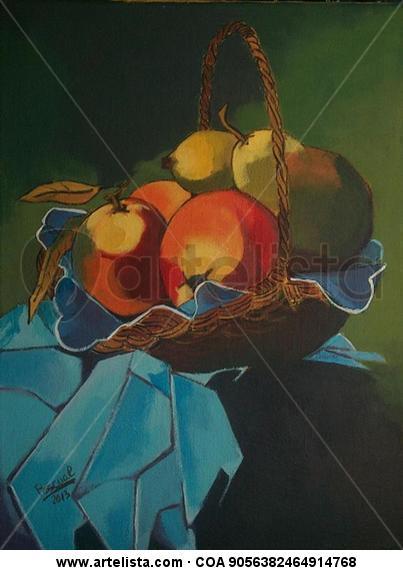 Cesto con frutas Tela Acrílico Bodegones