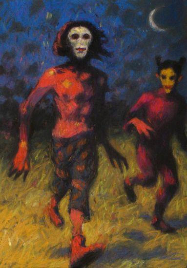 Noche de Cucos Paper Pastel Figure Painting