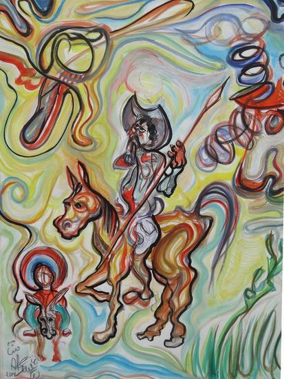 Don Quijote y Sancho alejándose de los molinos  de viento Cartulina Media Mixta Figura