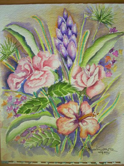 FLORES Floral Lienzo Acuarela