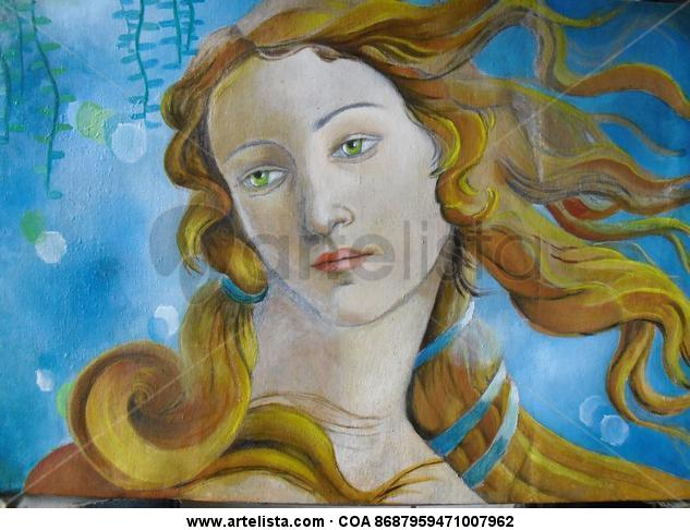 Nacimiento de Venus, detalle al Oleo sobre tela. Oil Textile Portrait