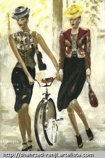 'Mesdames' watercolor painting by shahrzad ranji Otros Acuarela Figura