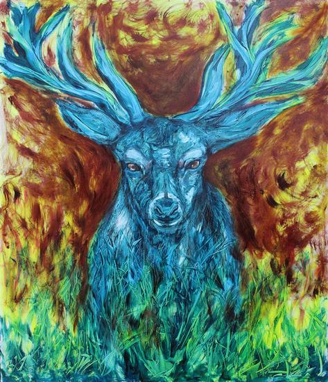 Beware of deer Lienzo Óleo Animales
